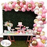 White Pink Gold Balloon Garland Arch Kit,118pcs White Macaron Pink Gold Metallic Balloons Gold Confetti Balloons Party DIY Decorations for Wedding Baby Shower Graduation Party