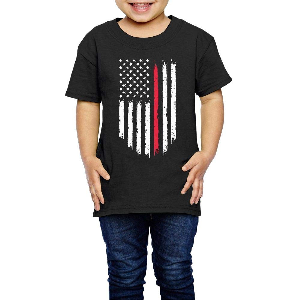 XYMYFC-E Firefighter Red Line American Flag 2-6 Years Old Children Short Sleeve T-Shirt