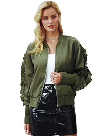 332148efe Amazon.com: Simplee Women's Casual Loose Basic Jacket Ruffle Long ...
