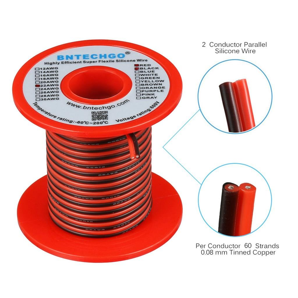BNTECHGO 22 Gauge Flexible 2 Conductor Parallel Silicone Wire Spool Red Black High Resistant 200 deg C 600V for Single Color LED Strip Extension Cable Cord,Model,Lead Wire 25ft Stranded Copper Wire