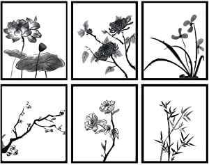 Black and white flower plant canvas art painting home decoration, elegant lotus art decoration painting is the best gift for relatives and friends,set of 6(Unframed, 8