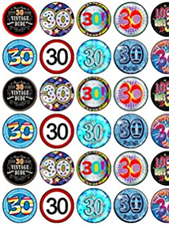 30th Birthday X 30 Assorted Male Premium Rice Paper Cup Cake Toppers 35cms
