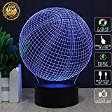 Basketball 3d Illusion Lamp for Kids includes 150cm USB Cable and USB Wall Plug Socket, Cool Creative Ideas 7 Colors Touch Switch Desk LED Night Lights Gift Baby