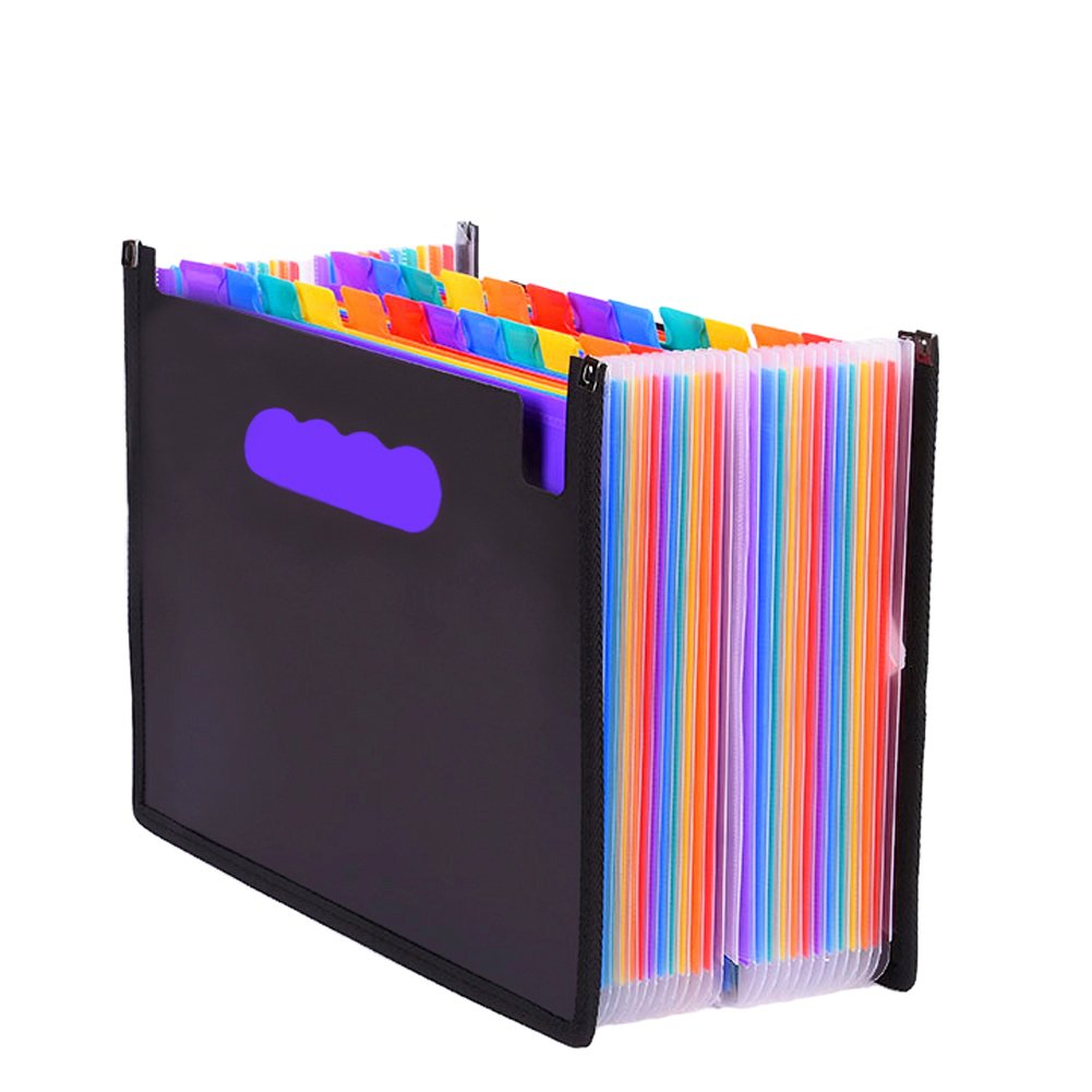 24 Pockets High Capacity Expandable Files Folder, A4 Plastic Portable Multi-color Accordion Folder, Efficient and Useful Business File Organizer Bag and School Works Organizer