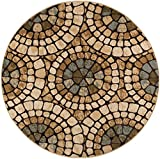 Carlos Transitional Mosaic Multi-Color Round Area Rug, 5′ Round