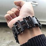 Zhuotop Multitool-Armband, Multifunktionswerkzeuge aus Edelstahl, 29 Werkzeuge an einem Armband, schwarz