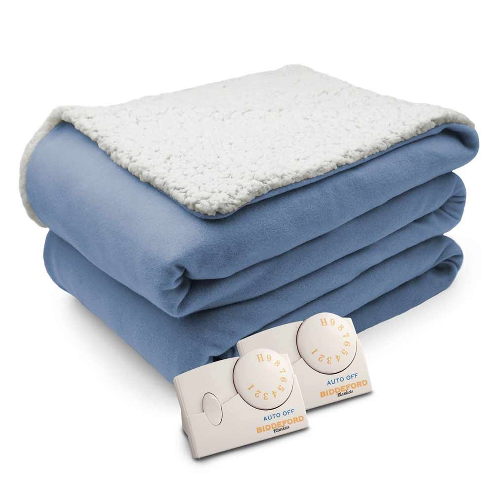 Biddeford Comfort Knit Natural Sherpa Electric Heated Blanket King Blue