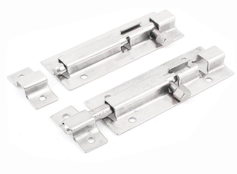 TUPWEL-1 2PCS Heavy-duty Stainless Steel Metal Door Latch Sliding Lock Door Insert Barrel Door Installation Mounting Accessories Tools (5inch)