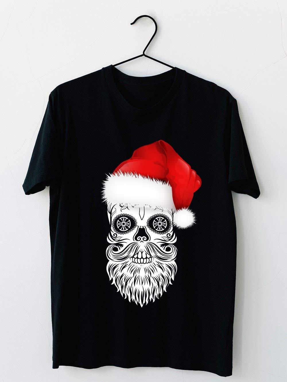 Sugar Skull With Santa Hat For Christmas & Halloween Short Sleeve T Shirt, For Unisex