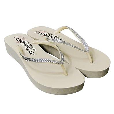 d558425c9 Elegance by Carbonneau SUNSHINE Women s Low Heel Flip Flop Ivory Foam  Rubber Sandal - 5 M