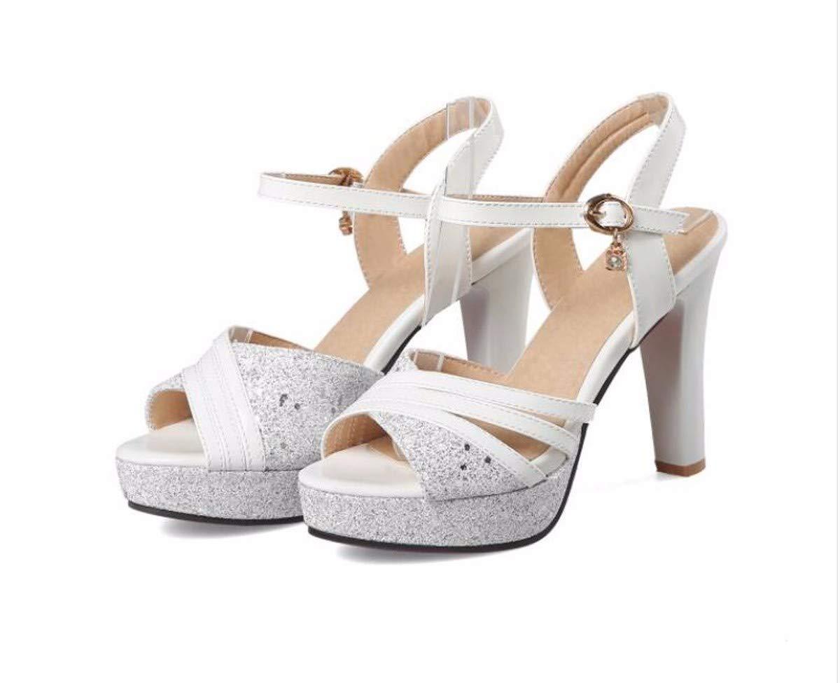 HBDLH Damenschuhe 10 cm Hohen Absätzen Sandalen Wasserdichte Mode Schwere Wasserdichte Sandalen Tabellen Faltet Die Frauen Schuhe Meine Arbeit Schuhe. 65a6b3