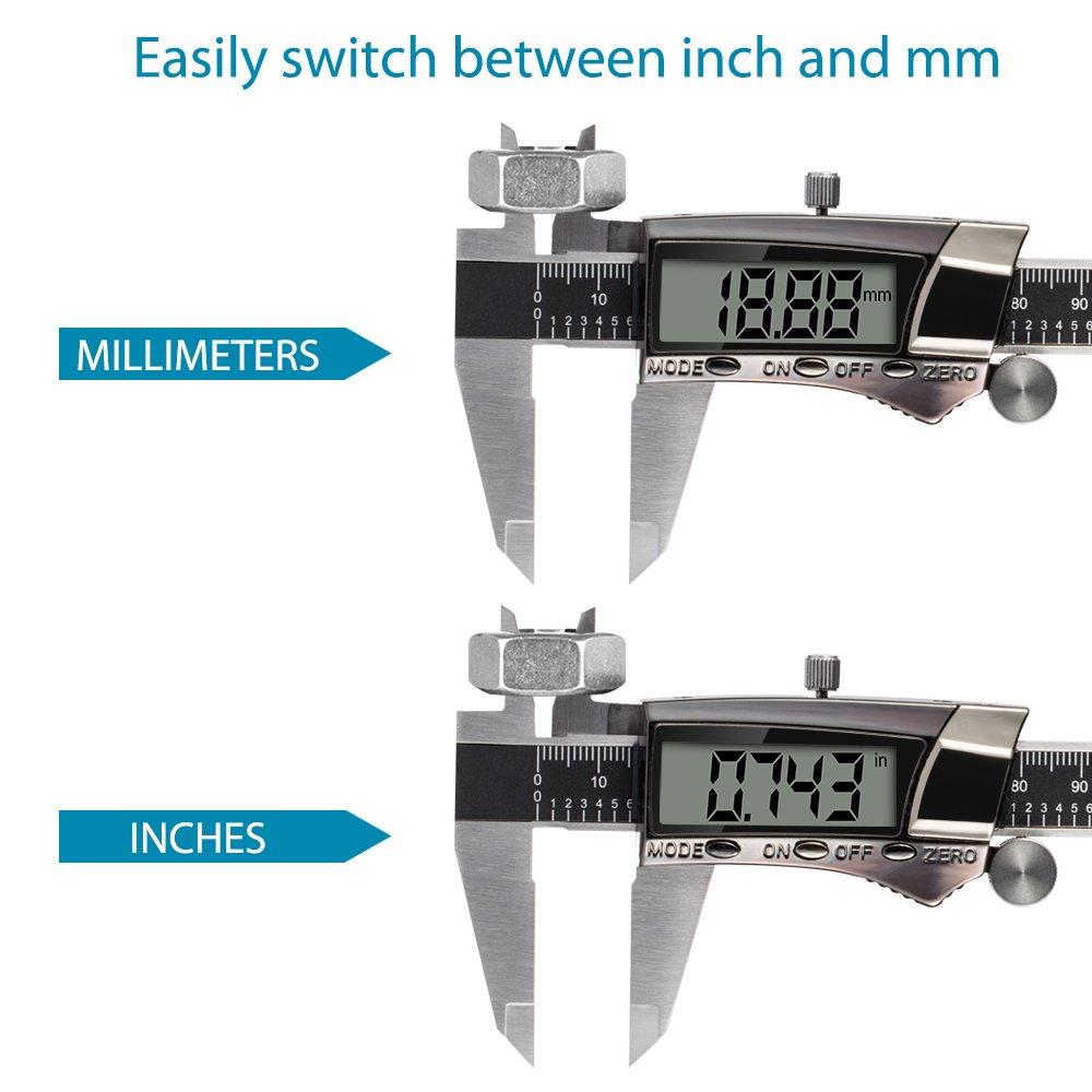 Pie de Rey Digital, Calibre Digital Profesional Pantalla Electrónica LCD de Acero Inoxidable 0.01mm, 150mm para Medida de Diámetro Interior ,Exterior,Altura ...