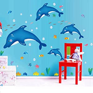 Fish Catroon Dolphin Wall Stickers Children Room Home Decor Baby Adhesive for Kids Room