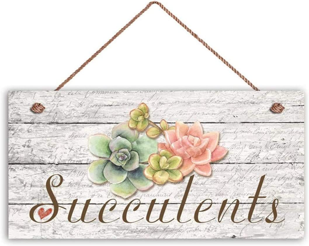 MAIYUAN Succulents Sign, Garden Sign, Rustic Decor, Plant on Distressed Wood Design, 12X6 Sign, Gift, Gift for Gardener(WE1106)