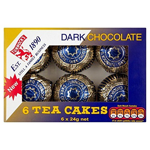Cake Biscuit Chocolate - Tunnock's Tea Cakes Dark Chocolate 6 x 24g