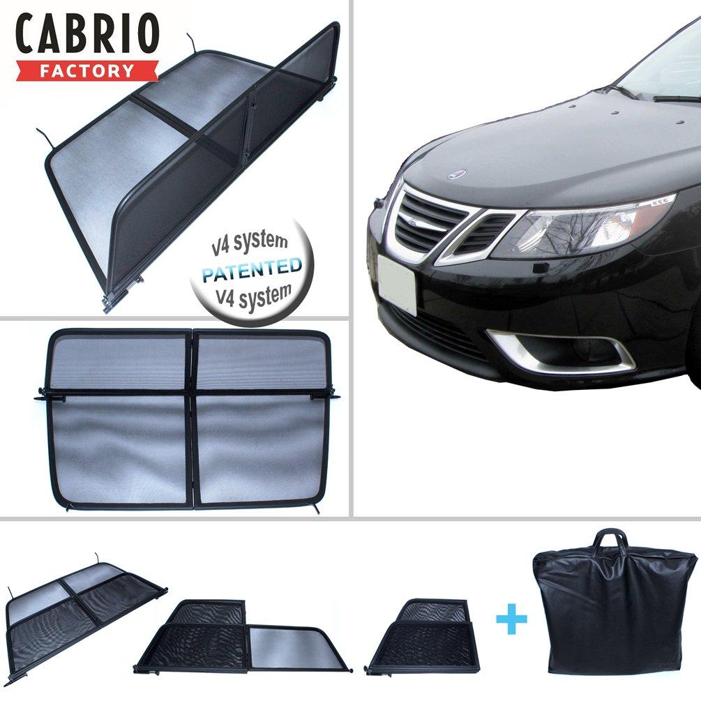Schwarz//mit Schnellverschluss Windblocker Windabweiser Wind Deflector *Neuheit* Zweifach klappbar Windschott mit Tasche f/ür Saab 9-3 Cabrio ab 2004