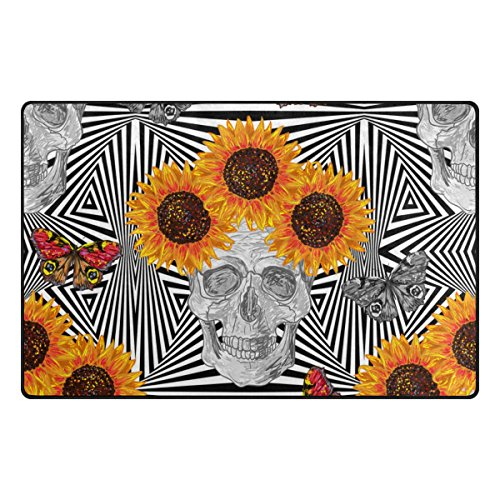 U LIFE Striped Floral Sunflowers Skulls Butterfly Large Doormats Area Rug Runner Floor Mat Carpet for Entrance Way Living Room Bedroom Kitchen Office 63 x 48 Inch Large Striped Sunflower