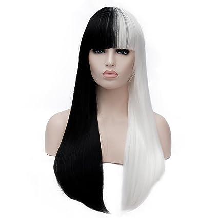 """28"""" 70CM Peluca de pelo largo liso de 2 tonos con flequillo recto cosplay fiesta"""