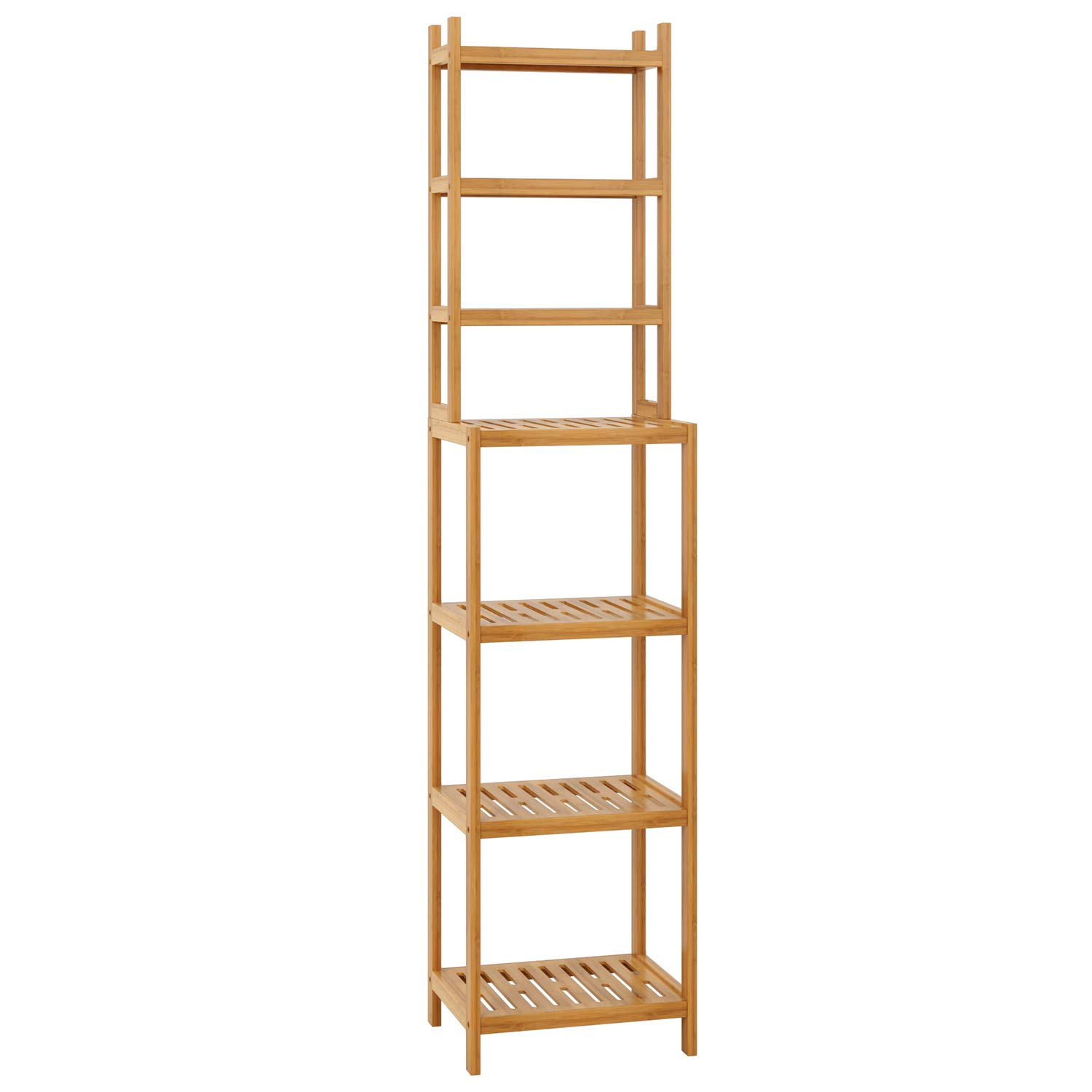 Homfa Bathroom Storage Shelf Bamboo Shelf Organiser Rack Free Standing Shelves Display Stand Shelving Unit 7 Tiers with White Frame for Kitchen Living Room Bedroom Office 160 * 36 * 28cm HF