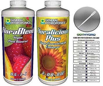 General hidroponía florablend Vegan & floralicious Plus Quart W/gothydro tabla de digitación y pipeta
