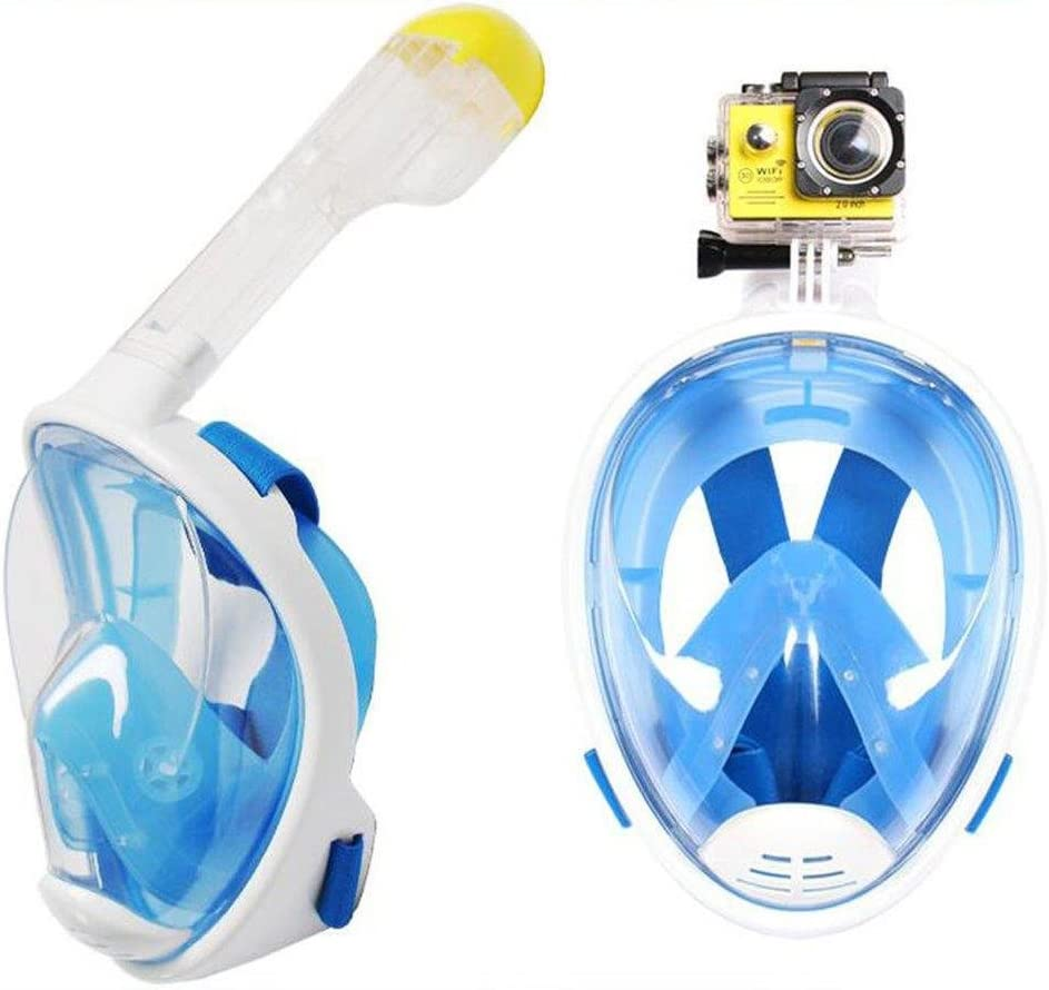 with Camera Mount Lightahead 180/° Full Face Scuba Snorkel Diving Mask Anti-Fog Anti-Leak with Panoramic Full Face Easy Breath Design /& Adjustable Head Straps