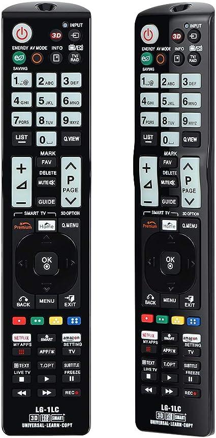 Alkia Mando a distancia universal luminoso LG-1LC para LG TV/LEARN/HDTV/ 3D/LCD/LED, funciona con todos los televisores LG (LED, LCD, plasma)