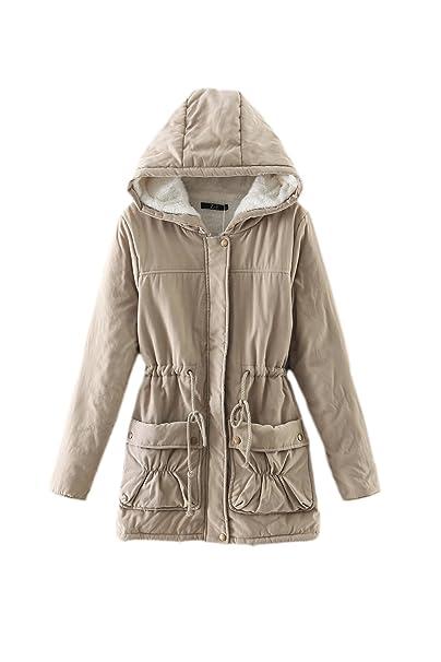 Beige Felpa Una Solido Inverno Caldo Donne Soprabito L Lunga Con Le Cordoncino Giacconi Manica XFnp51qp7