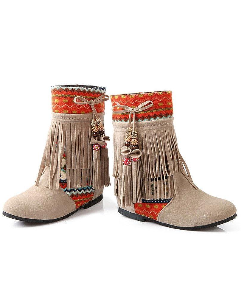 Bout Mode Neige Bottines Flat Cuir Hiver Cheville Tassel Nubuck Rond Chaussures Perlé Femme Minetom xqTZR7q