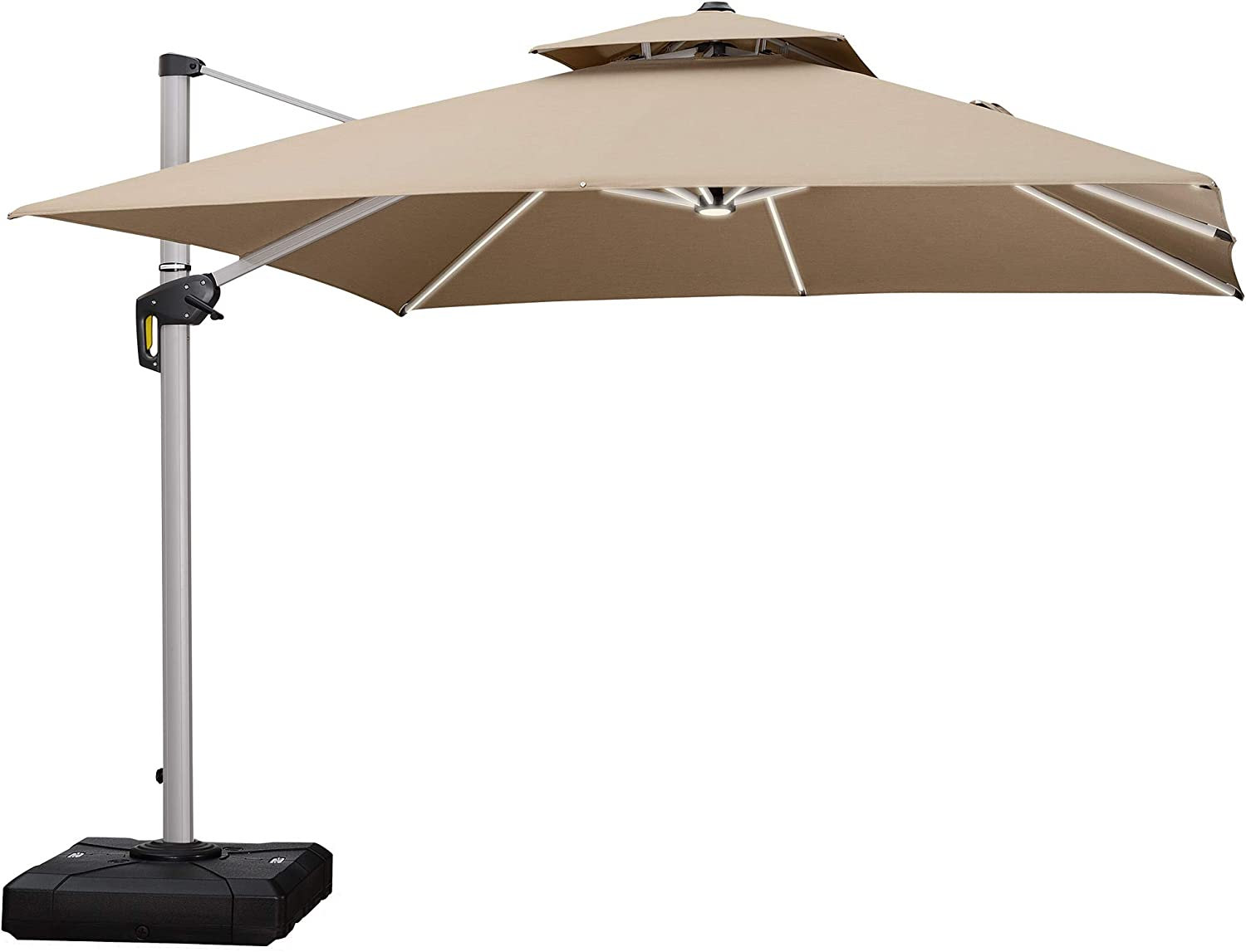PURPLE LEAF 9 Feet Double Top Deluxe Solar Powered LED Square Patio Umbrella Offset Hanging Umbrella Outdoor Market Umbrella Garden Umbrella, Beige