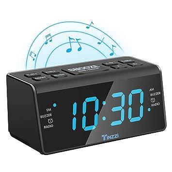 [Nueva Versión] Reloj Despertador,Tinzzi Despertador FM /AM Reloj Despertador Digital con Alarma Doble,Función de Repetición, Temporizador de Apagado ...