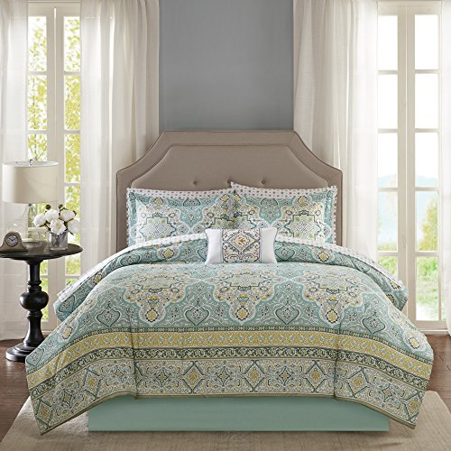 9 Piece Queen Comforter Set - Exotic Floral Medallion Theme Bedding - Includes 90