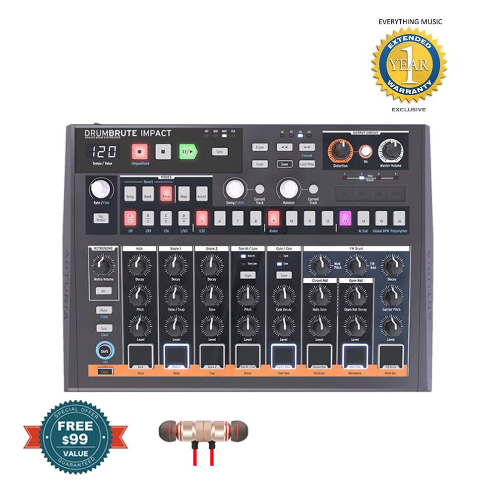 Arturia DrumBrute Impact Drum Machines includes Free Wireless Earbuds - Stereo Bluetooth In-ear and 1 Year Everything Music Extended Warranty by Arturia (Image #1)
