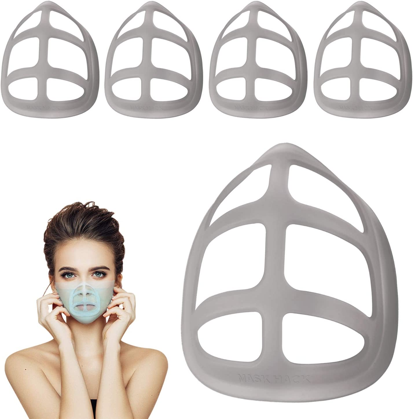As Cool Turtle Mask Insert as seen on Tv, Breathe cup Helps You Breathe Easier,Silicone Face Mask Inner Support Frame, Washable Reusable, Fits Men and Women,black Large size 5Pack
