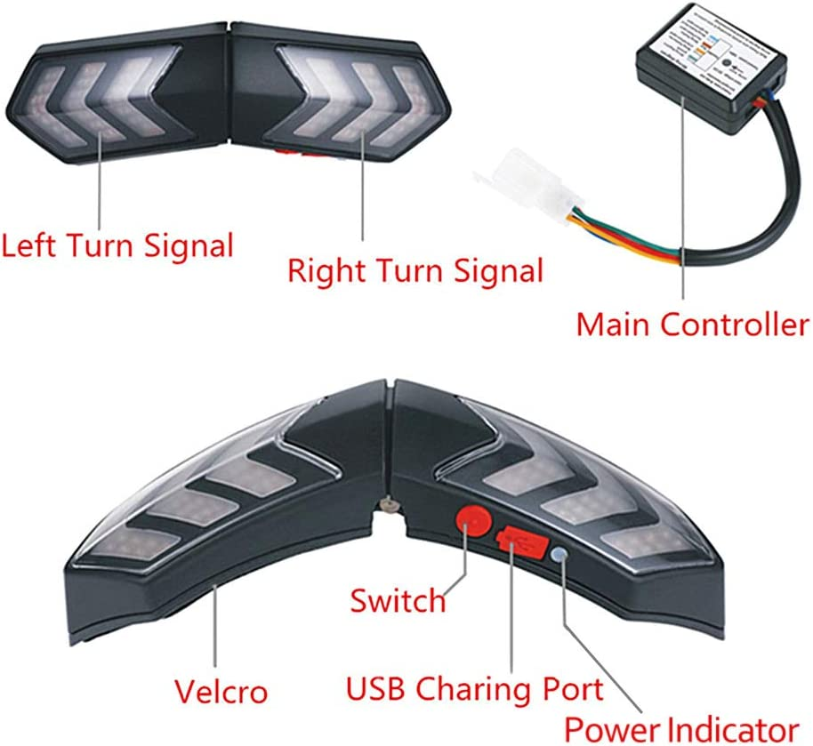 Anruffunktion und SOS-System Blinker Navigation Yissma 12V Funk Motorradhelm LED Bremsblinker Blinker Musik R/ücklicht