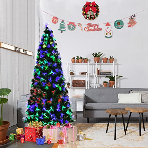 Goplus 6FT Artificial Christmas Tree Pre-Lit Optical Fiber Tree 2 Flash Modes W/ UL Certified Multicolored LED Lights & Metal Stand Un-lit Trees
