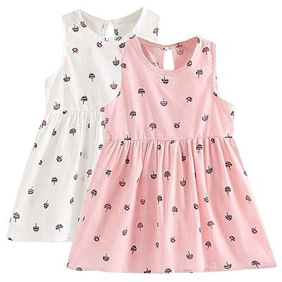 Sameno 2pcs Kids Little Girls Cotton Tank Dress Sleeveless Summer Casual Sundress Tunic Shirt Dress Jumper 3-7 Years Old: Sports & Outdoors