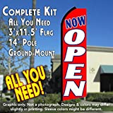 NOW OPEN (Red/White) Flutter Feather Banner Flag Kit (Flag, Pole, & Ground Mt)