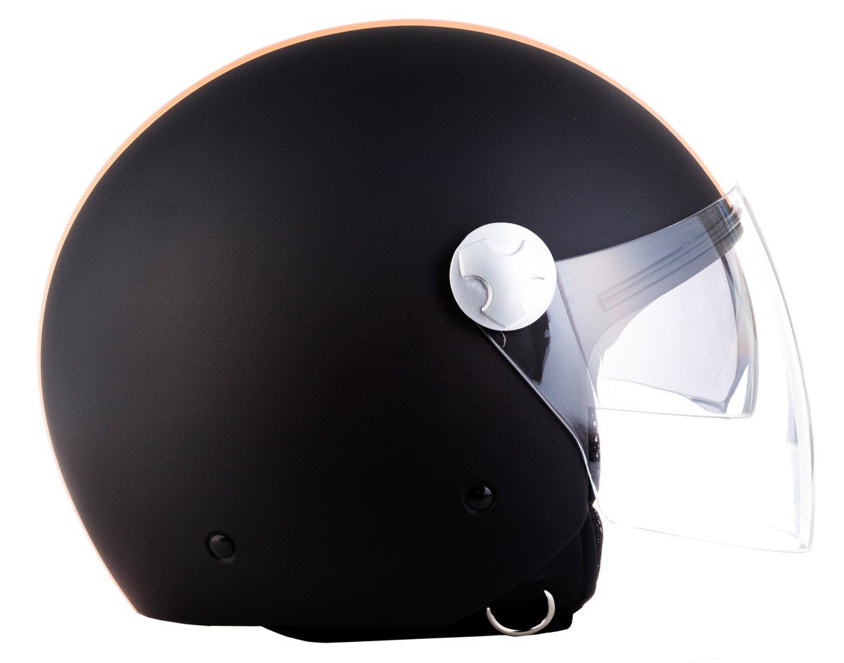 "Armor /· AV-63 /""Italy Creme/"" 55-56cm /· Open Face Helmet /· Motorcycle Scooter Motorbike Retro Jet Pilot /· ECE certified /· Separate Visors /· Click-n-Secure Clip /· Carrier Bag /· S yellow"