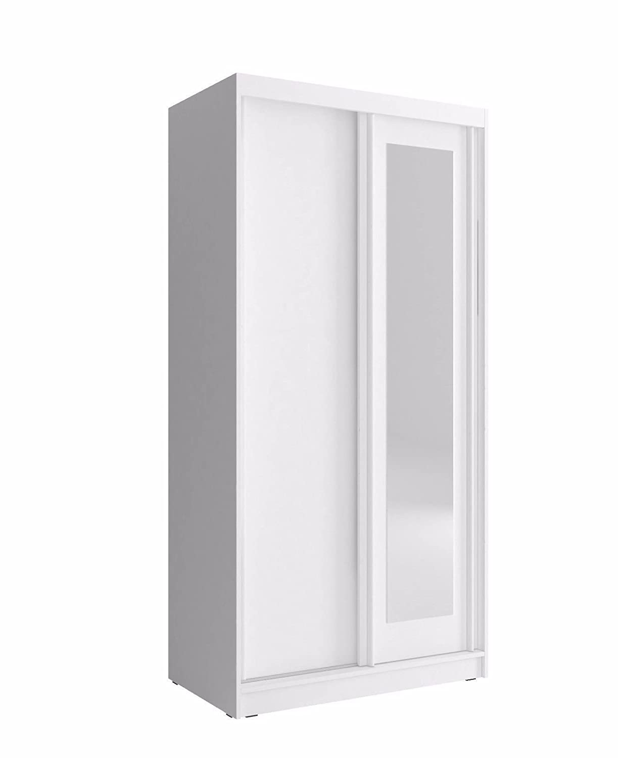 CHECO HOME AND GARDEN FAST DELIVERY 100 cm WIDE SLIDING 2 DOORS WARDROBE (White) CHECO LTD