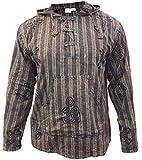 Shopoholic Fashion Mens Stonewashed Striped Hooded Grandad Shirt (XL,Green)