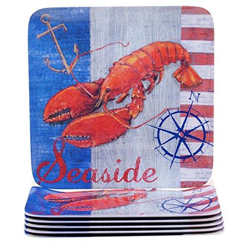 10.5 Plate Melamine (Certified International Corp Maritime Melamine Lobster Dinner Plate (Set of 6), 10.5