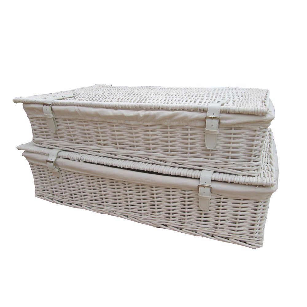 Home underbed storage baskets wicker underbed storage basket - White Wicker Underbed Storage Baskets X Large Amazon Co Uk Kitchen Home