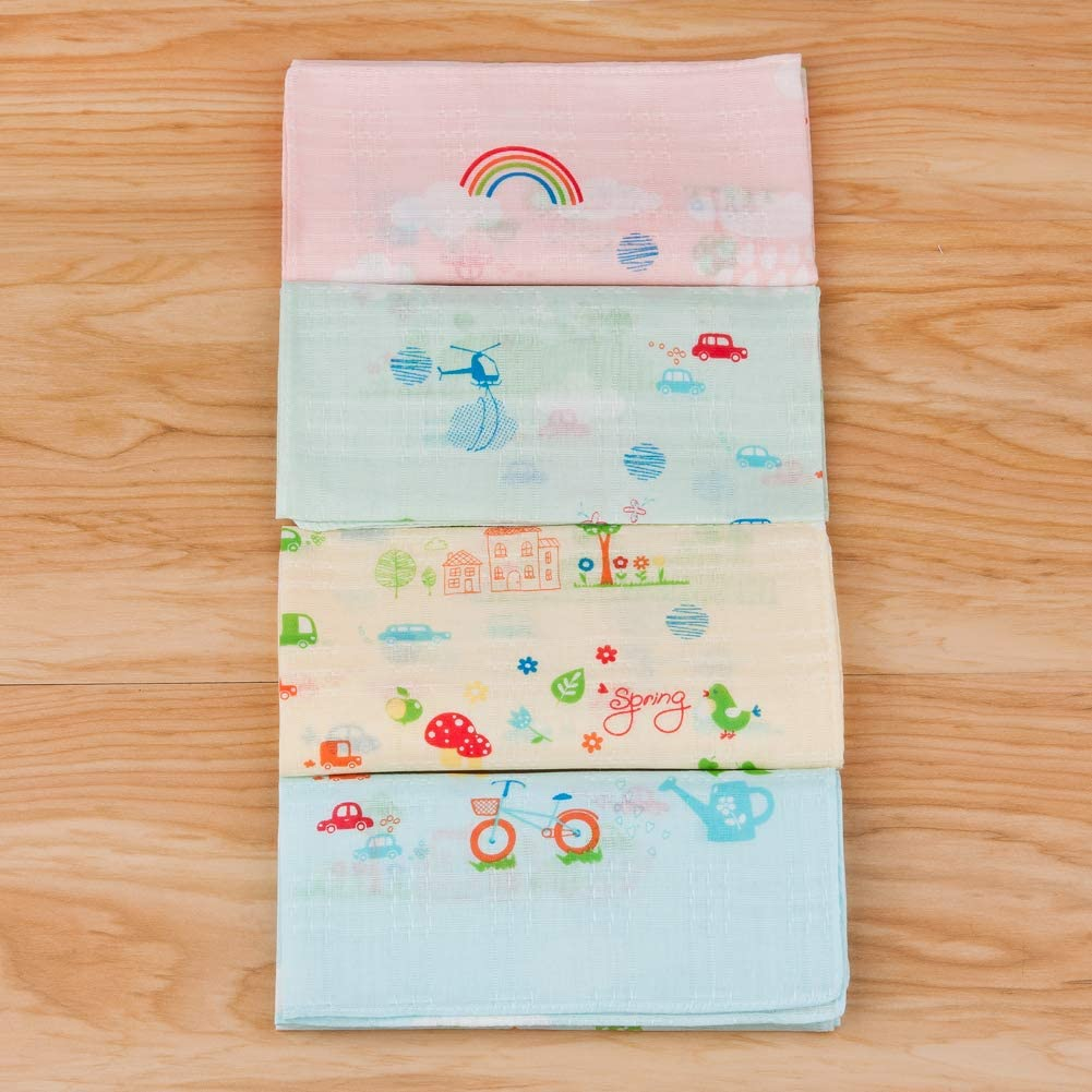 Houlife Boys Girls 100/% Bamboo Cotton Handkerchiefs Cute Cartoon Print Pattern Hankies for Kids Children Students 4 Pieces 31x31cm Christmas Gifts