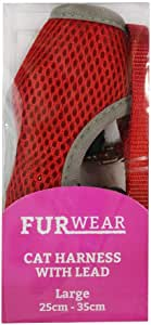 Furwear Cat Mesh Harness with Lead, Large, Red