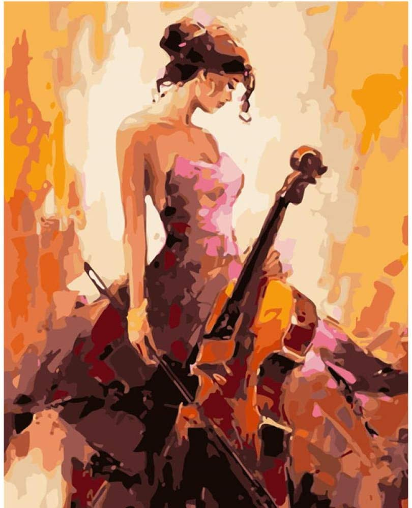 20 Pulgadas Pintar Por Numeros Violonchelo Pintura Al /Óleo Para Adultos Ni/ños Pintura Por N/úmero Kits Decoraciones Para El Hogar 16