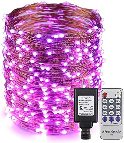 ER CHEN 165ft Led String Lights,500 Led Starry Lights on 50M Copper Wire String Lights Power Adapter Remote Control Purple