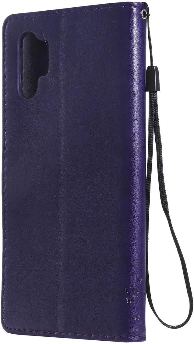 Herbests Kompatibel mit Samsung Galaxy Note 10 Plus Handyh/ülle Leder H/ülle Vintage Motiv Muster Schmetterling Baum Katze Leder Flip Schutzh/ülle Tasche Wallet Book Case Kartenfach Standfunktion,Blau
