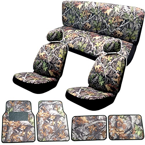 Camo Gray Forest Seat Cover & Floor Mat Set - Front Rear Headrests - 4 Floor Mats - Steering Wheel Cover & Seat Belt Pads in Surreal Camouflage + FREE BONUS MITT
