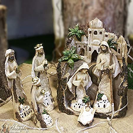 Saint Christophe presepe di Natale Moderno – Resina: Amazon.it