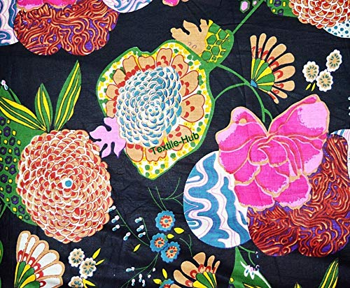 (Indian Traditional Cotton Fabric Floral and Fruits Print Dress Fabric Black 1)